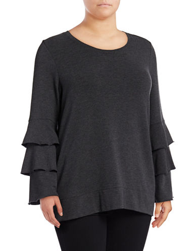 Style And Co. Plus Tiered Bell Sleeve Top-BLACK-3X