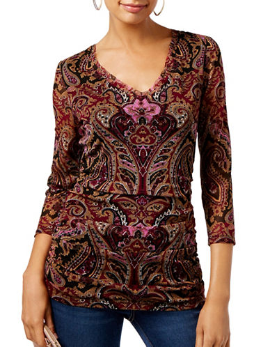 I.N.C International Concepts Petite Paisley V-Neck Top-MULTI-Petite Small