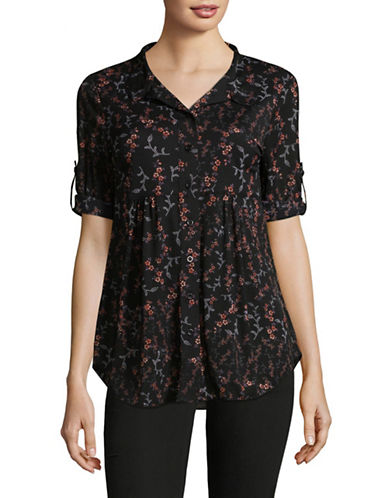 Style And Co. Petite New Mesh Big Button-Down Shirt-BLACK-Petite X-Large