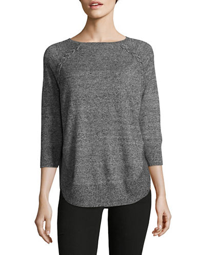 Style And Co. Petite Braided Round-Hem Sweater-BLACK-Petite Small