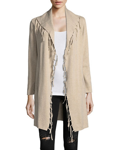 Style And Co. Petite Open Front Cardigan-BEIGE-Petite Medium