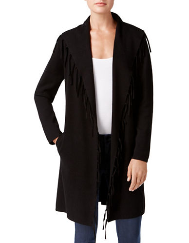 Style And Co. Open Front Long Cardigan-BLACK-Medium