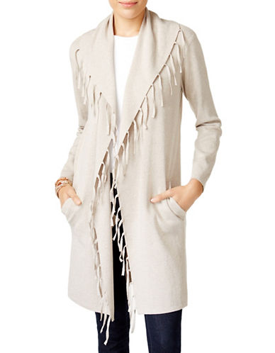 Style And Co. Open Front Long Cardigan-GREY-Medium
