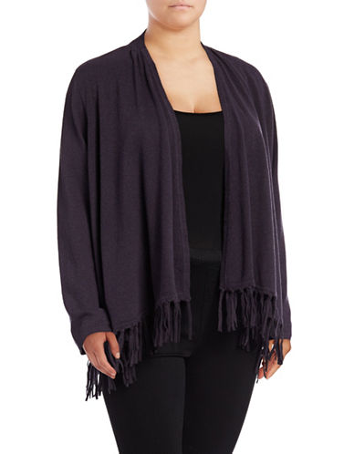 Style And Co. Plus Fringe Cardigan-GRAPE-2X