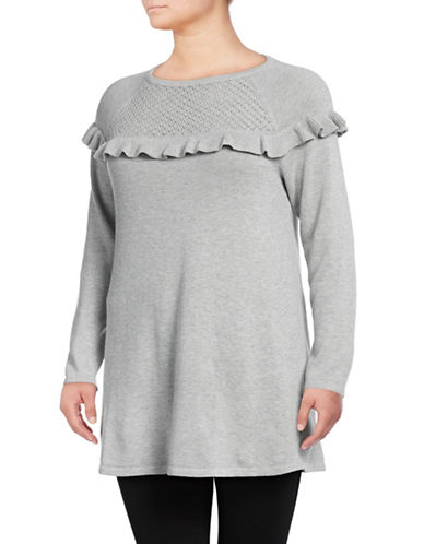 Style And Co. Plus Ruffled Long Sleeve Tunic-LIGHT GREY-1X