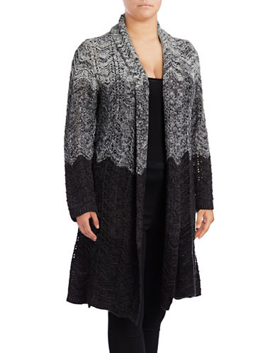 Style And Co. Plus Textured Open Front Cardigan-GREY COMBO-1X