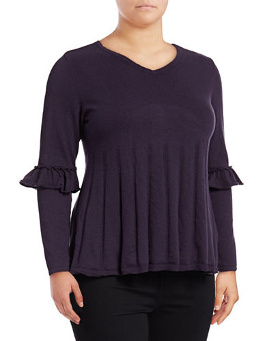 Style And Co. Plus Ruffle Sleeve Pullover-DARK GRAPE-1X