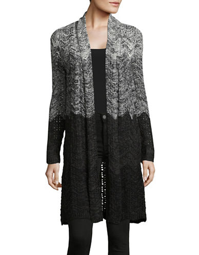 Style And Co. Textured Open Front Cardigan-GREY-Medium