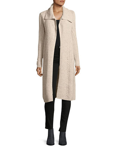Style And Co. Cable Tweed Duster Jacket-BEIGE-Medium