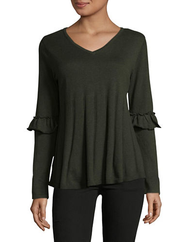 Style And Co. Ruffle Sleeve Pullover-GREEN-X-Large