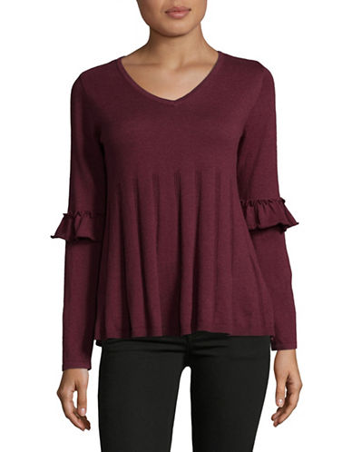 Style And Co. Ruffle Sleeve Pullover-PURPLE-Medium