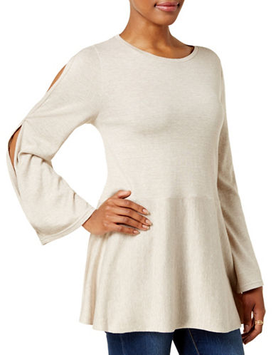 Style And Co. Split-Sleeve Swing Top-IVORY-Large