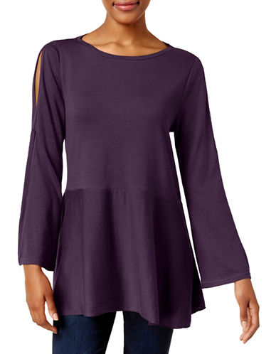 Style And Co. Split-Sleeve Swing Top-DARK GRAPE-X-Large