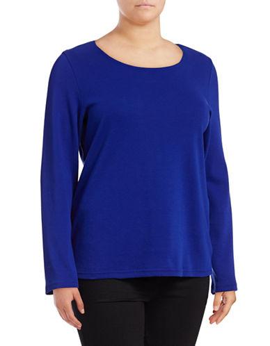 Karen Scott Plus Long Sleeve Scoop Neck Top-BRIGHT BLUE-2X