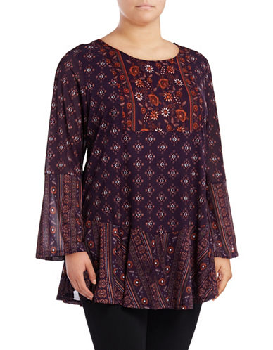 Style And Co. Plus Bell Sleeve Tunic-GRAPE-2X