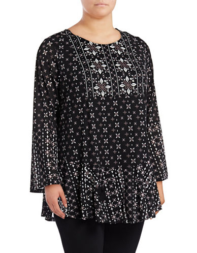 Style And Co. Plus Bell Sleeve Tunic-DP BLACK-3X