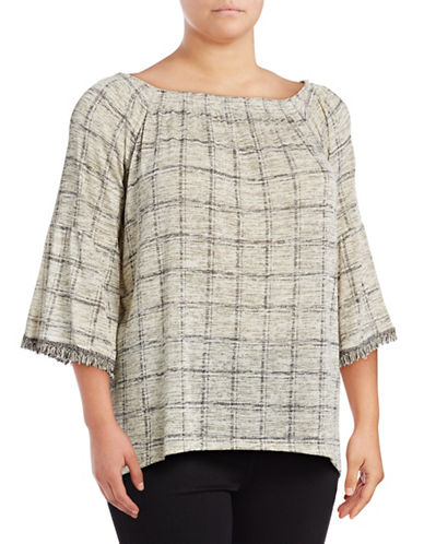 Style And Co. Plus Check Tassel Tunic-BEIGE-2X
