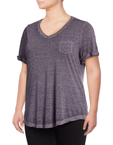 Style And Co. Plus Plus V-Neck T-Shirt-GRAPE-3X