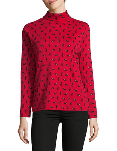Karen Scott Petite Geo Scottie Turtleneck-RED-Petite X-Small