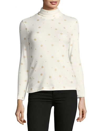 Karen Scott Petite Snowfall Turtleneck Top-WHITE-Petite Medium