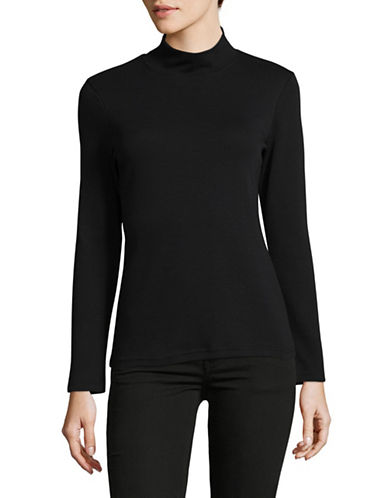 Karen Scott Petite Plain Mock Neck Cotton Top-BLACK-Petite Large