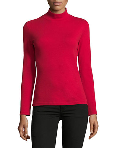 Karen Scott Petite Plain Mock Neck Cotton Top-RED-Petite X-Small