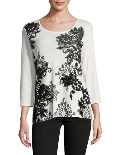 Karen Scott Poetic Medal Embellished Top-WHITE-Large