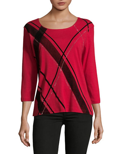 Karen Scott Plaid Merri Top-RED-Large