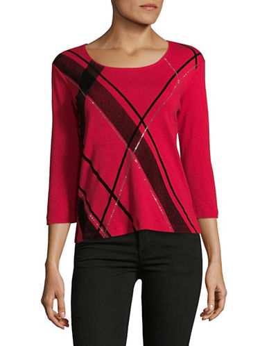 Karen Scott Petite Plaid Merri Top-RED-Petite Small