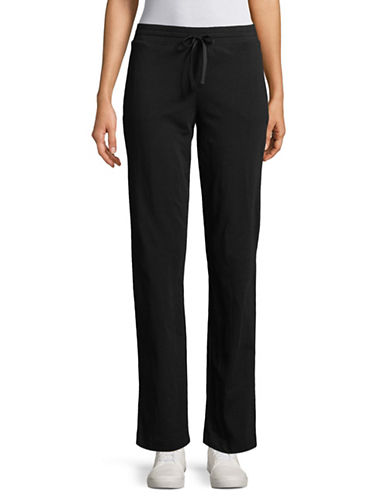 Karen Scott Drawstring Knit Pants-BLACK-Large