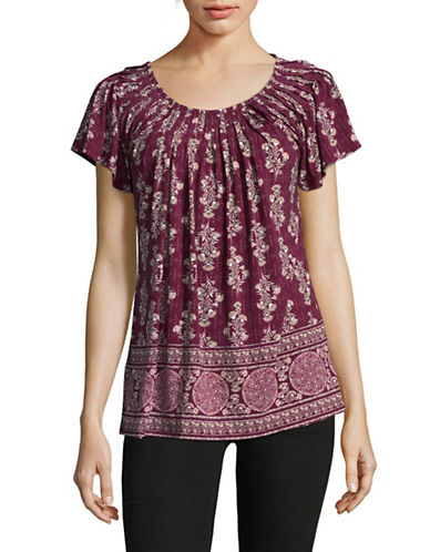 Style And Co. Floral Print Pleated Top-PURPLE-Small