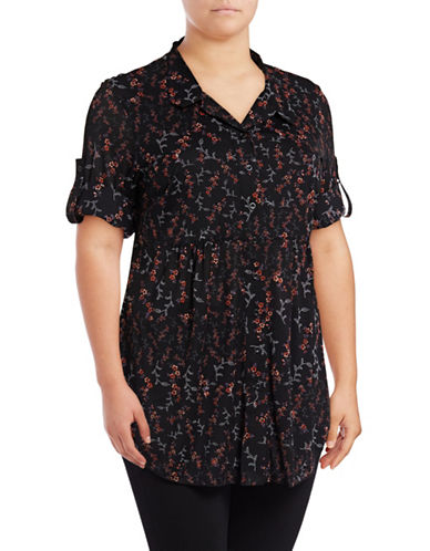 Style And Co. Plus Floral Tunic Top-BLACK-2X