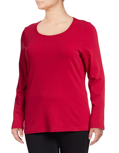 Karen Scott Plus Long Sleeve Scoop Neck Top-RED-1X