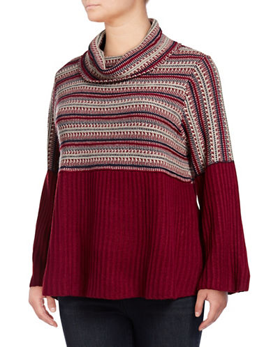 Style And Co. Plus Jacquard Babydoll Sweater-CRANBERRY-2X