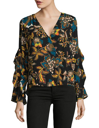 I.N.C International Concepts Ruffle-Sleeve Blouse-BLACK MULTI-Small