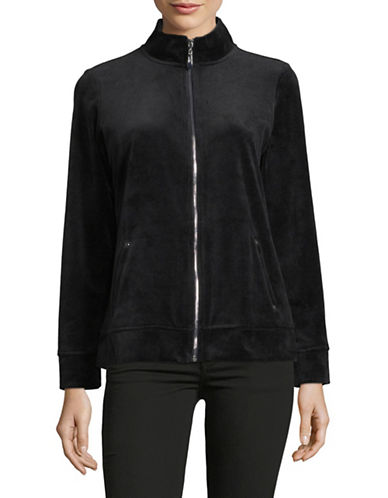 Karen Scott Velvet Zip Jacket-BLACK-Large