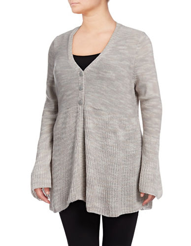 Style And Co. Plus Plus Spacedye Cardigan-PEONY GREY-1X