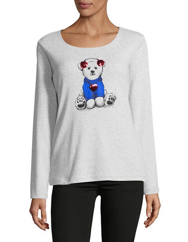 Karen Scott Holiday Polar Bear Sweatshirt-GREY-X-Large 89569930_GREY_X-Large