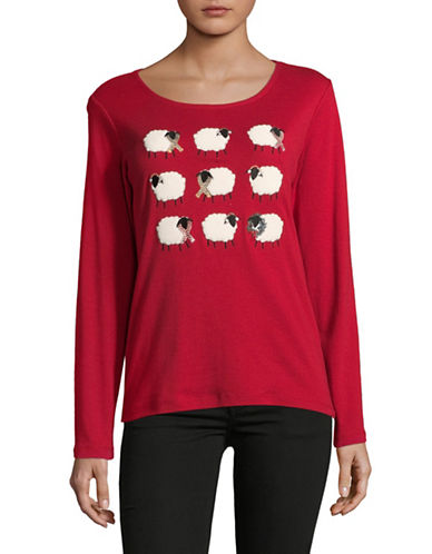 Karen Scott Merry Sheep Cotton Sweater-RED-Medium