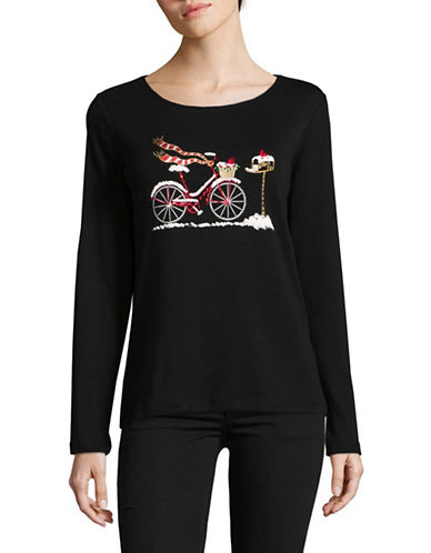 Karen Scott Embellished Long-Sleeve Cotton Top-BLACK-X-Large