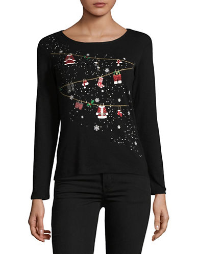 Karen Scott Petite Embellished Long-Sleeve Cotton Top-BLACK-Petite Large