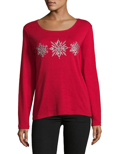Karen Scott Embellished Long-Sleeve Cotton Top-RED-Small