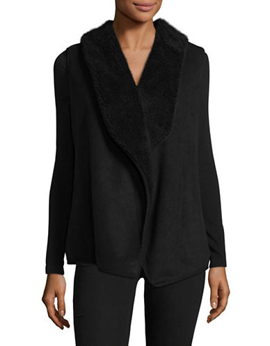 Karen Scott Open-Front Faux-Fur Vest-BLACK-Small