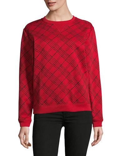 Karen Scott Plaid Fleece Sweater-RED-X-Large