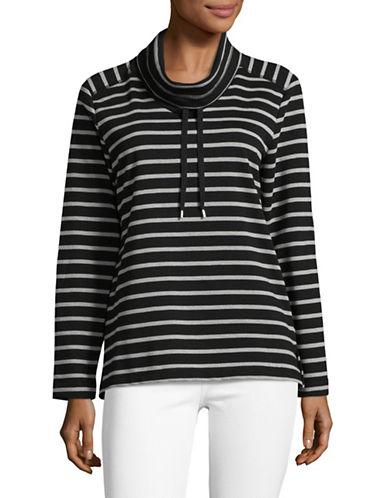 Karen Scott Ann Stripe Funnel Neck Pullover-BLACK-Large