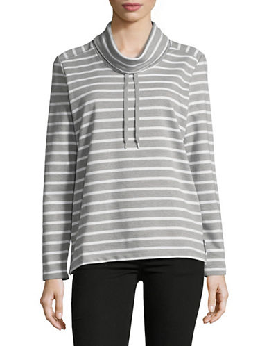 Karen Scott Ann Stripe Funnel Neck Pullover-GREY-Small