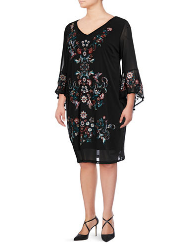 I.N.C International Concepts Plus Mesh Embroidery Dress-BLACK-2X