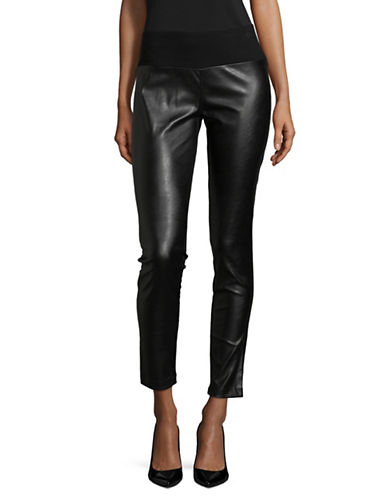 I.N.C International Concepts Faux Leather Skinny Ponte Pants-BLACK-14