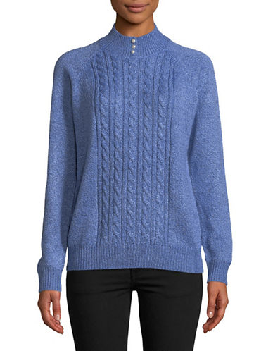 Karen Scott Marled Knit Sweater-BLUE-X-Large