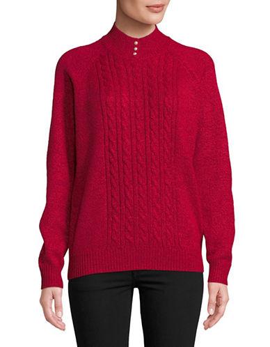 Karen Scott Marled Knit Sweater-RED-Large
